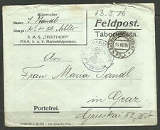 AUSTRIA. WW1. NAVY. 1916. COVER SMS TEGETTHOF. PRIVATELY PRINTED ENVELOPE WITH S