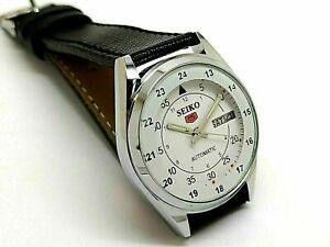 seiko 5 automatic men's steel whitedial day/date vintage japan watch run order