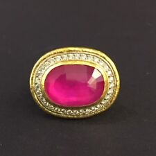 Rose Cut Ruby and Diamond Pave 24K Gold Ring by GURHAN  NWOT