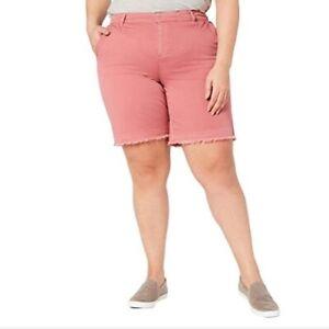 Style&Co. Womens Mid Rise Frayed Hem Chino Shorts Plus Sizes, Red Salmon/Beige
