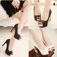 Womens Sexy Peep Toe Platform Pumps Stiletto High Heels Sandals Waterproof Shoes