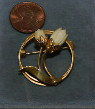 Carved Faux Ivory Hawaiian Pikake Flower Tulip  Gold tone Brooch Pin 7h 92