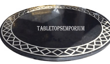 "30"" Marble Black Coffee Round Table Top Marquetry Inlay Outdoor Mosaic Decor"