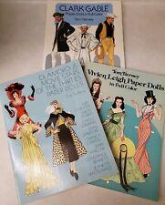 Lot of 3 Paper Doll Books Tom Tierney - Clark Gable, Vivien Leigh, Movie Stars