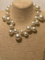 Womens Statement Long Gold Green Bead Beaded Faux Pearl Chain Necklace Vintage