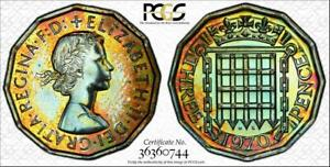1970 GREAT BRITIAN 3 PENCE PCGS PR65 PROOF COIN COLOR TONED IN HIGH GRADE