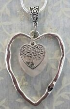 LARGE HEART PENDANT ROSE QUARTZ GEMSTONE HEART AND TREE OF LIFE HEART NECKLACE