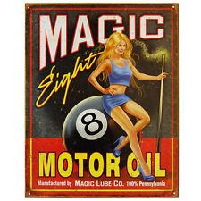 MAGIC EIGHT MOTOR OIL - LARGE METAL TIN SIGN 40.6CM X 31.7CM GENUINE AMERICAN