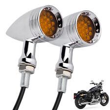 Motorcycle LED Turn Signal Light Amber Chrome Brake Running Tail Light Bullet US