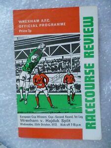 1972 WREXHAM v HAJDUK SPLIT 25th Oct European Cup Winners Cup 2nd RD 1st Leg