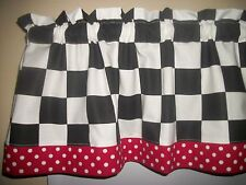 "Black White 2"" Checks Chef Coca Cola kitchen Red Polka Dot Retro curtain Valance"