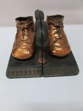 Copper Child Baby Booties Bookends Books on Plate with Holder Antique Old