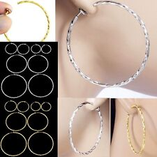 #E121D Pair FAKE PIERCING CLIP ON Twist Hoop EARRINGS Spring Closure Big Small