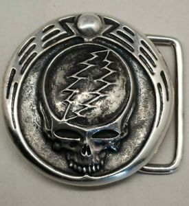 """Owsley """"Bear"""" Stanley Silver Grateful Dead """"Steal Your Face"""" Belt Buckle"""