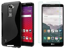 BLACK S-LINE TPU CASE+ CLEAR TEMPERED GLASS FOR VERIZON LG STYLO 2 V