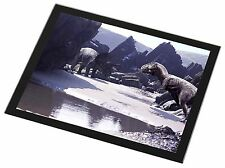 Dinosaur Print Black Rim Glass Placemat Animal Table Gift, DIN-1GP