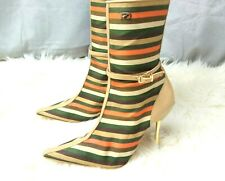 Red or Dead ladies striped beige pointy toe 90s ankle calf boots 4 37