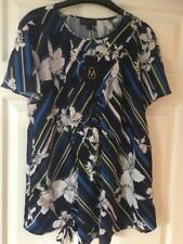 BNWT NEXT Ladies Blue Floral Maternity Short Sleeved Top Blouse Size 8