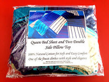 1 X Queen Size Fitted Bed Sheets With 2 Pillow Case 100% Cotton New