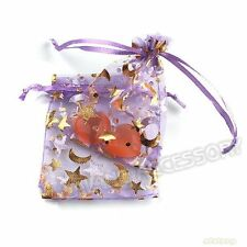 50x 7x9cm Charms Moon&star Purple Organza Wedding XMAS Gift Bags Fit Jewelry BS