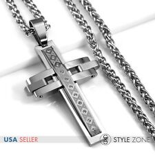 Men's Silver Stainless Steel Punk Heavy Big Cross Pendant Braid Necklace NEW P64
