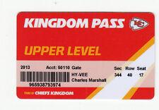 2013 KANSAS CITY CHIEFS SEASON TICKET STUB ID CARD VALID FOR ALL 10 HOME GAMES