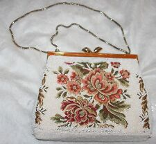 GORGEOUS TRUE VINTAGE Evening Bag - White Beads over Tapestry Fabric