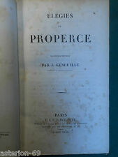 ELEGIES DE PROPERCE TRADUCTION J.GENOUILLE BILINGUE LATIN PANCKOUCKE 1834