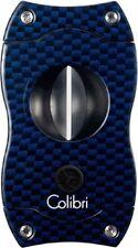 COLIBRI Zigarrenschneider V-Cut Blau Carbondruck 23 mm 7 mm Kerbschnitt NEU