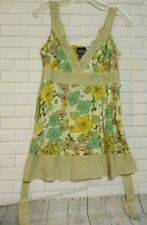 Angie  Small  Green Yellow White Floral Polka Dot Cotton  Sleeveless Tank  Top