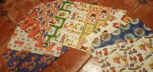 Vintage Retro 70s XMAS WRAPPING PAPER x 10 Sheets  - incl. Cute ANIMAL DESIGNS