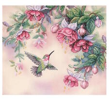 Dimensions Hummingbird & Fuchsias Stamped Cross Stitch Kit 13139