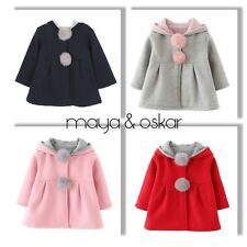 c3c7b988f222 BABY GIRLS SPRING BUNNY RABBIT HOODED COAT JACKET EASTER OUTFIT 6 12 18m 2  3yrs