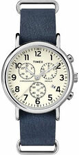 "Timex TW2P62100, ""Weekender"" Blue Leather Watch, Chronograph, TW2P621009J"