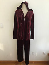 CHICO'S Hoodie Track Suit Burgundy/Wine Velour Size 1 Jacket /Size 1 SHORT Pants