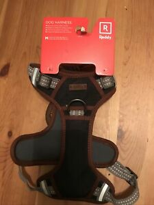 REDDY Dog Harness NEW COLOR, Med , Adjustable Grey  with Brown leather/Handle.