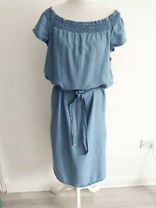 Next size 14 Chambray Dress Elasicated off the Shoulder