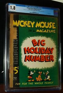 MICKEY MOUSE MAGAZINE BIG HOLIDAY NUMBER #v2 #3 1936  Disney Comics CGC 1.8 G- !