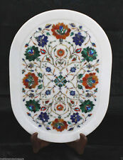 """13""""x18"""" White Marble Serving Plate Tray Decorative Pietra Dura Handmade Gifts"""