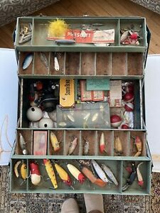 vintage tackle box full of vintage lures