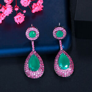 Pave Hot Pink Green CZ Long Dangle Drop Earrings for Brides 925 Silver Jewelry