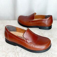 Birkenstock Shoes 38 Brown Leather Loafers 7 7.5 Footprints Footbed Slip On