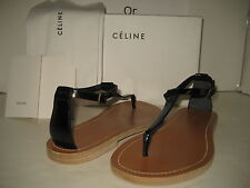 $720 NEW CELINE US 8 EU 38 Black Patent Leather Thong Ankle Strap Sandals Shoes