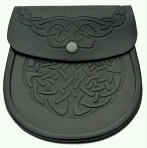 Celtic  Knot / Embossed Cowhide Leather Scottish Kilt Sporran + Belt Set