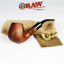 "RAW ""RAWSOME"" Rolling Papers Brand Uncoated Wood Tobacco Smoking Pipe W/ Pouch"