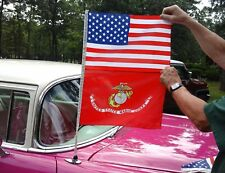 American & Navy, Army, Marine , Air Force or Coast Guard Combo Antenna Car Flags