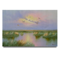 NY Art - Hunting Geese in the Marshes 24x36 Original Oil Painting on Canvas!