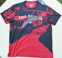 New Men's XL True Religion Red  Black Shirt Gold Foil Embelishments