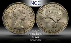 1964 NEWZEALAND 1 FLORIN NGC MS 66 ONLY 5 GRADED HIGHER #