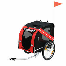 Aosom Pet Trailer Dog Bike Carrier w/ Hitch High Quality Red Black